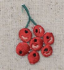 Iron On Patch Embroidered Applique - Red Berries Bunch on Green Stem
