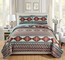 YellowStone Style Southwestern King Quilt Native American Tribal Bedspread 3pc