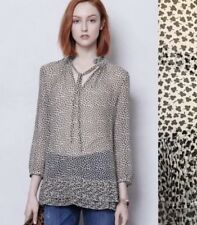 Anthropologie Portrait Of A Girl Sz 2 Blouse Clover Valley Top Pleated Tie Neck