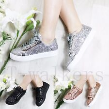 WOMENS LADIES LACE UP RUNNING TRAINERS GLITTER FITNESS GYM FLAT SPORT SHOES SIZE