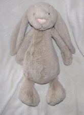 "JELLYCAT STUFFED PLUSH BASHFUL BUNNY RABBIT TAN BROWN TAUPE 16"" BEAN BAG"