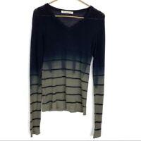 Parker Blue Cashmere Knit Sweater Pullover V Neck Ombre Open Knit Women Sz Small