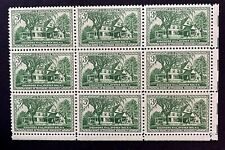 US Stamps, Scott #1023 3c Sagamore Hill Issue 1953 Block of 9 XF M/NH. Fresh