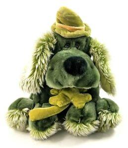 "Vintage Dan Dee Plush Irish Green Dog with Shamrock, Hat, Lucky 10"" Stuffed"