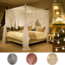 4 Corner Bed Netting Canopy Mosquito Priceness Double Net + LED Light Curtain