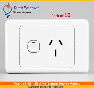 10 pieces 15 Amp Single Power Point GPO Outlet Bulk Lot 15A Socket SAA