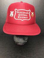 Vintage Wisconsin Central Railway Trucker Cap Snapback