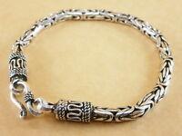 "New Byzantine Bali Borobudur 925 Sterling Silver Bracelet Chain 4mm 7.25"" 20g"