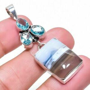 Owyhee Blue Opal, Blue Topaz Gemstone 925 Silver Plated  Pendant 5.7   mkp6