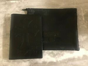 Chrome Hearts Leather Passport Holder with Cross Patch  925 Sterling Silver