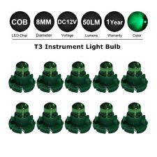 10Pcs GREEN T3 Neo Wedge SMD LED Car Bulb HVAC Climate Control Lights DC12V Lamp