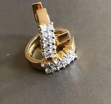Solid 14ct Yellow Gold Diamond Earrings 0.50ct Huggies Hoops
