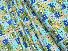 Jersey Little Darling grin cat green blue cotton knit fabric 0.54yd (0.5m)