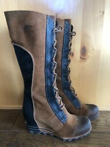 SOREL CATE THE GREAT WEDGE 8.5 Tall ELK Women Boots Waterproof  EXCELLENT RARE