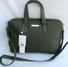 NEW..LACOSTE..OLIVE..SPLIT LEATHER..SLIM..COMPUTER..BAG..NH1410ED..NWT $350