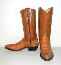 Mens 8.5 A Cowboy Boots Narrow Dan Post Vintage Country Western Tan Womens 9.5