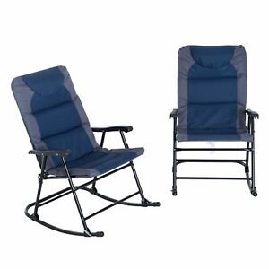 Outsunny Folding Padded Outdoor Camping Rocking Chair 2 Piece Set - Blue / Grey