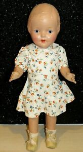 """Antique 1930s composition Lovely doll unmarked 16"""" Painted Face Dressed"""
