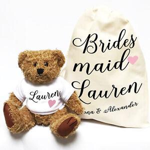 Wedding Teddy Bear Gift   Personalised   Bridesmaid Script