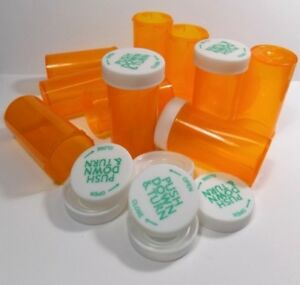 8 Dram Medicine Pill Bottles Child-Resistant Caps, Amber 25 Sets-Free Ship on 1