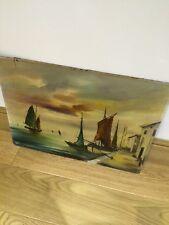 Vintage original oil on Board Un framed Chinese Signed Junka ships, art Large