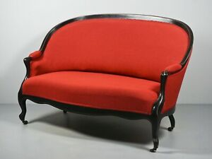 Art Nouveau Couch Red With Ebonised Wooden Frame And Rolls Z