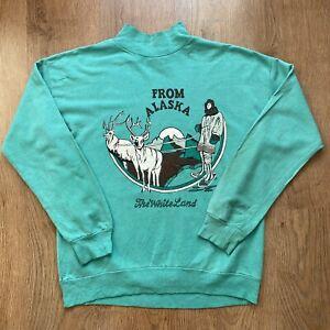 Vintage Pastel Alaska Green Turtle Neck Sweatshirt Jumper - Womens Small/Medium