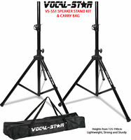 Vocal Star High Quality Tripod Speaker Stands Kit & Carry Bag DJ PA Disco