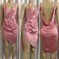 DESIGNER INSPIRED PINK DRAPE BACK HIGH SIDE SLIT ASYMMETRIC HEM DRESS
