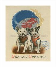 "Soviet Russian Space Poster On Canvas Print 8x10"" BELKA & STRELKA #001"