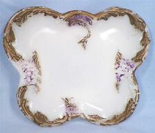 Victorian Butterfly Milk Glass Pin Dish Tray Flowers Scrolls Antique Bureau