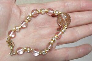 """Venetian Glass Beaded Knotted  Bracelet 7-1/2""""  (?)"""