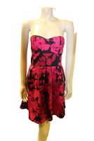 Black Pink Floral Dress Size 10 Boned Bodice Strapless Evie Party Frock