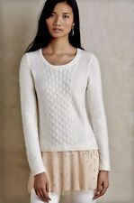 EUC Anthropologie Knitted Knotted Ivory Sweater Pink Jeweled Tunic Dress SMALL S