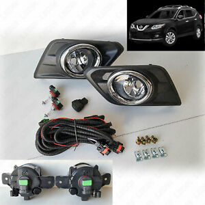 For 2014-2016 Nissan Rogue Clear Fog Lights Kit with Switch Bulbs Bezel Wiring