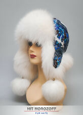 White Shadow Fox Fur Russian Ushanka Aviator Hat Pavlov Posad Wool Shawl Mütze