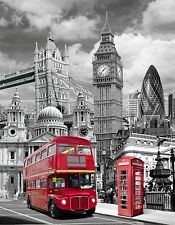 LONDON red bus thames big ben  CANVAS picture 12 x16 inch  stretched over frame