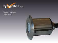 FARETTO LED RGB 3W IP68 INOX DA INCASSO PER SAUNA DOCCIA E SCALE ALIM. 12VDC