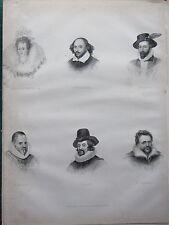 1880 VICTORIAN PRINT ~ QUEEN ELIZABETH SHAKESPERE BACON RALEIGH CAMDEN JONSON