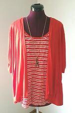 Sag Harbor Size Large Orange & White 2-Fer Striped Soft Stretch Knit Career Top