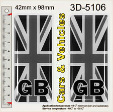 2x GB UK Black Union Jack Flag Number Plate Resin Stickers Decals Badges Domed