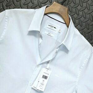 ⭐ mens Lacoste CH4868 slim fit poplin Italian stretch cotton shirt Large 42 16.5
