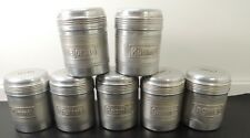 Vtg. set of 7 GRAF Germany Art Deco aluminium  kitchen canisters jar. c1930