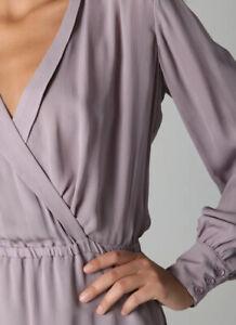 Parker Womens Silk Crepe V-Neck Long Sleeve A-Line Dress Purple Size XS Stunning