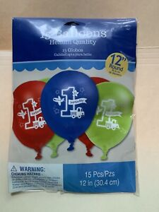 "1st Birthday 15ct Helium Quality Balloons - 12"" Round Red Blue & Green NIP"