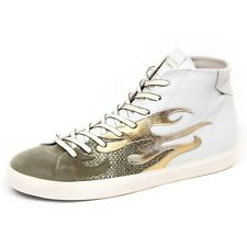 F0566 sneaker uomo white/green/gold LEATHER CROWN scarpe glitter shoe man