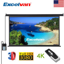 "100"" 16:9 Electric Motorized HD Projector Screen Home Theater w/ Remote Control"