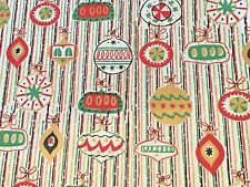 Vtg Christmas Wrapping Paper Gift Wrap Nos Gorgeous Mcm Ornaments Indents