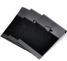 50 Black Ear Hooks Earring Plastic Display Cards 6.2x4.5cm