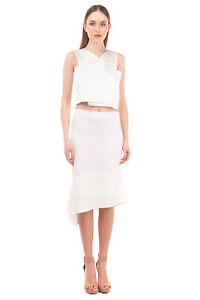 RRP €275 JOSEPH Crepe Skirt Size 42 / XL Stretch Asymmetric Hem Split Side